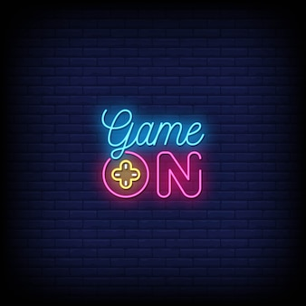 Game on neon signs style tekst