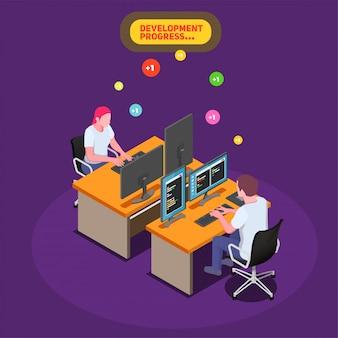 Game ontwikkeling isometrische illustratie met mannelijke en vrouwelijke ontwikkelaars op hun werkplek en kijken op pc-scherm met programmacode