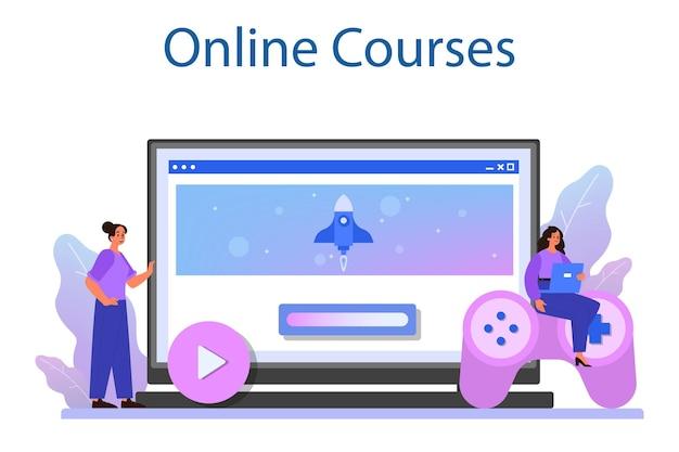 Game-ontwikkeling online service of platform. creatief proces van het ontwerpen van een computervideogame. online cursus.