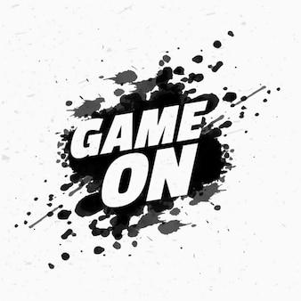 Game op bericht op zwarte inkt splash