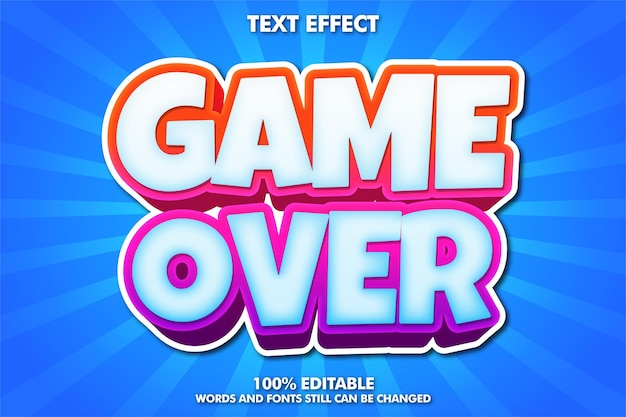 Game over banner, bewerkbare cartoon lettertype