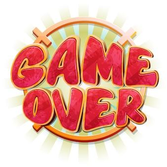 Game over bericht in cartoon-stijl.