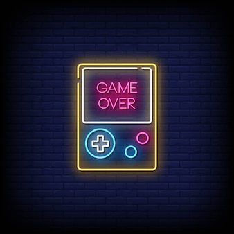Game over neon signs style text