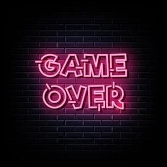 Game over neonreclames ontwerpsjabloon neonreclame