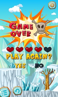 Game over-sjabloon op mobiele game