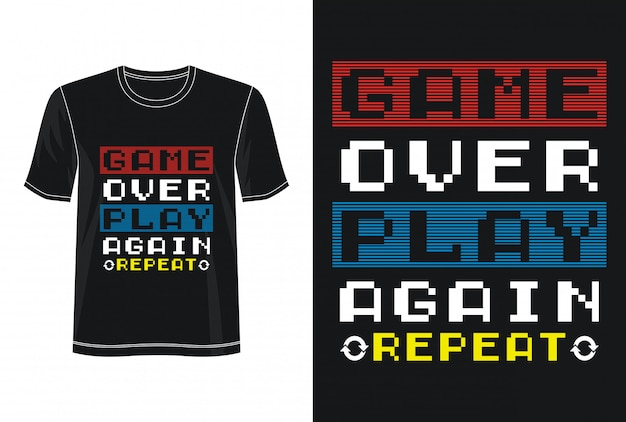Game over typografie voor print t-shirt