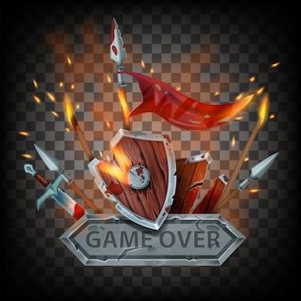 Game over vector badge middeleeuwse laatste slag teken houten schild zwaard brandende vlag vuur vonken