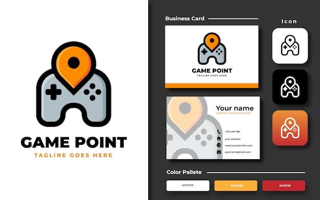 Game point logo sjabloon met visitekaartje