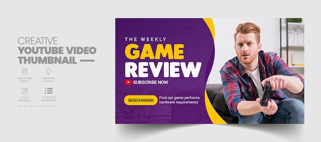 Game review youtube-thumbnail en webbannersjabloon