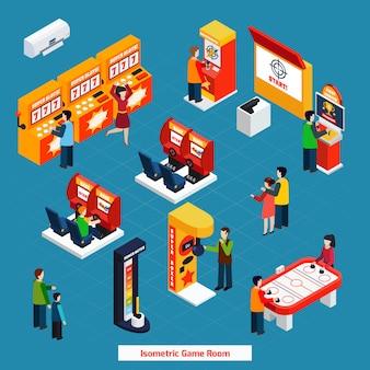 Game room isometrische poster