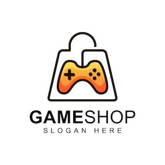 Game shop met tas logo concept, icon gaming of symbool logo
