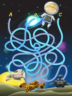 Game sjabloon met astronaut in de ruimte