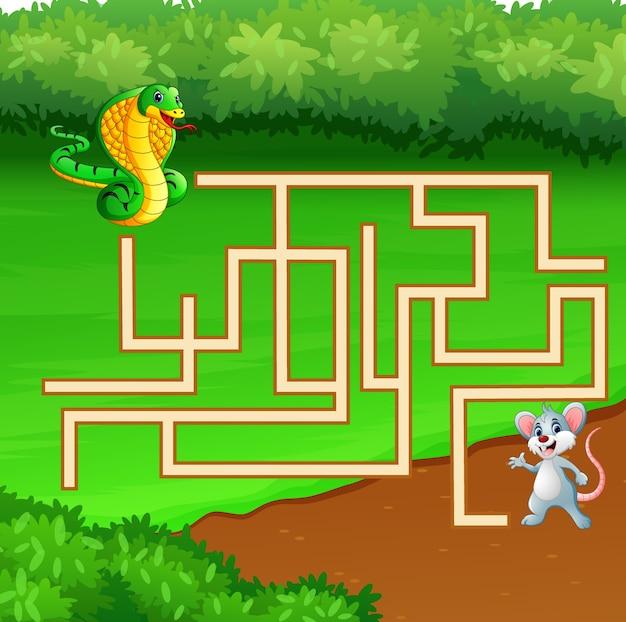 Game snake doolhof vinden weg naar de muis