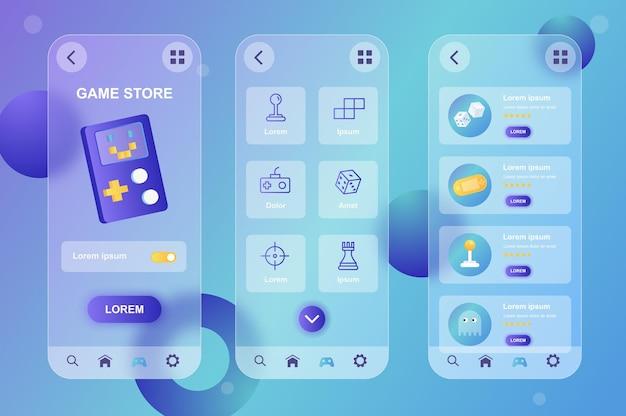Game store glasmorfische ontwerpset met neumorfische elementen voor mobiele app ui ux gui-schermen