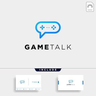 Game talk logo ontwerpsjabloon met visitekaartje bevatten vector illustratie pictogram element - vector