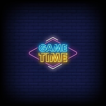 Game time neon signs style text