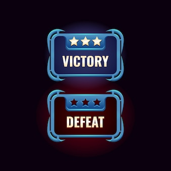 Game ui fantasie overwinning en nederlaag ontwerpinterface