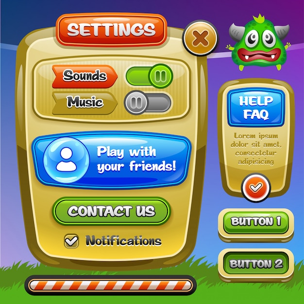 Game ui. instellingenvenster. een grappig bedieningspaneel met cartoon-ui-spelopties inclusief status- en niveaubalken. .