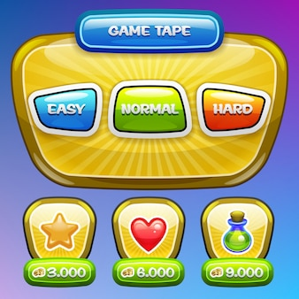Game ui. niveau complexiteitsscherm. .