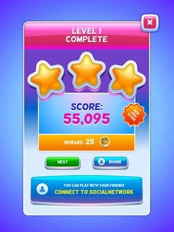 Game ui. niveau voltooid scherm.