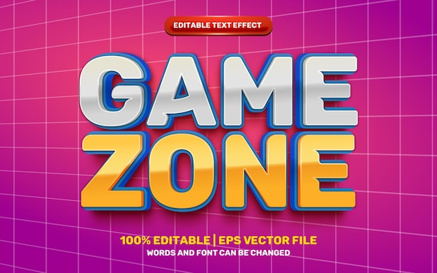 Game zone cartoon stripheld 3d bewerkbaar teksteffect