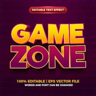 Game zone cartoon vet bewerkbaar teksteffect