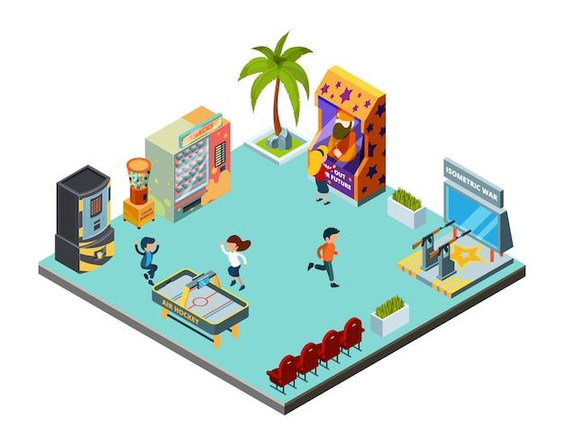 Game zone concept. spelcentrum, kinderkamer met speelautomaten arcade simulator racer hockey schietbaan isometrische locatie.