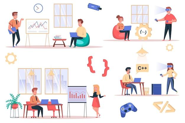 Gameontwikkelaar werkt aan geïsoleerde elementenset bundel van medewerkers analyseren dataprogrammeurs