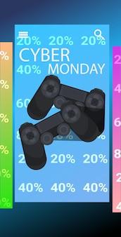 Gamepad joystick cyber maandag online verkoop poster reclame flyer vakantie winkelen promotie banner verticale vectorillustratie
