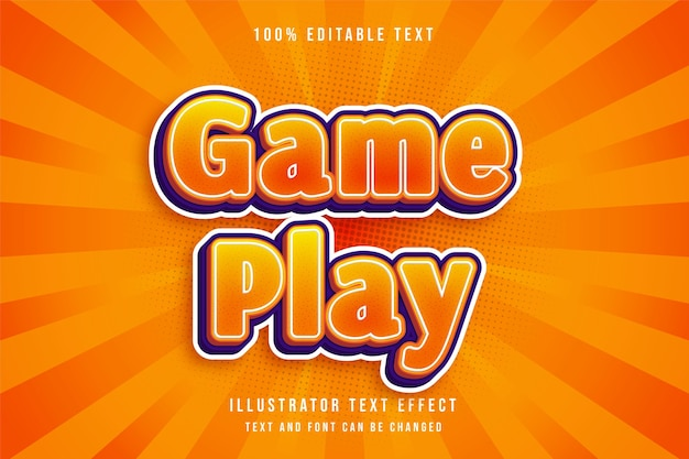 Gameplay, 3d bewerkbaar teksteffect gele gradatie oranje komische effectstijl