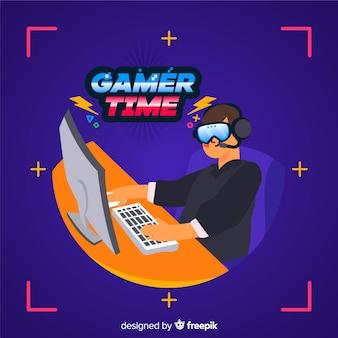 Gamer decoratief illustratie plat ontwerp