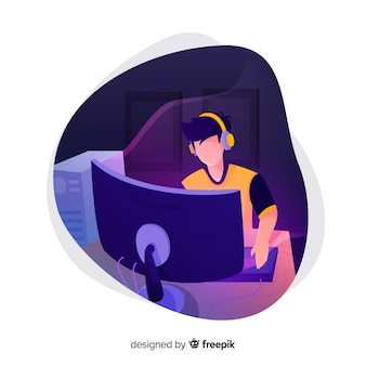 Gamer die met de computer speelt