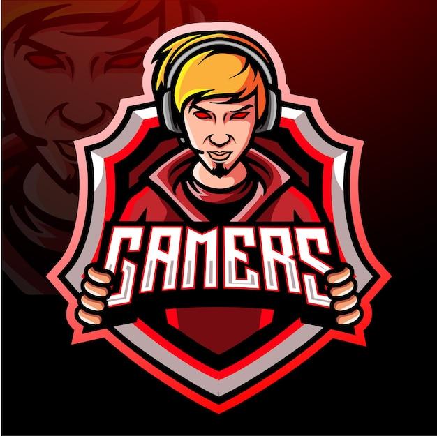 Gamer esport logo mascotte ontwerp