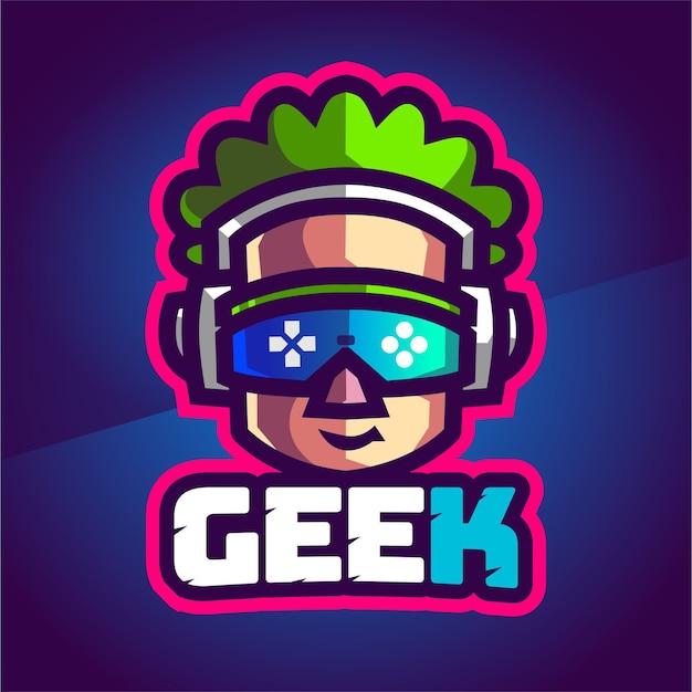 Gamer geek kleurrijk mascotte gaming-logo