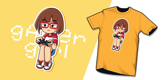 Gamer girl tshirt tekensjabloon