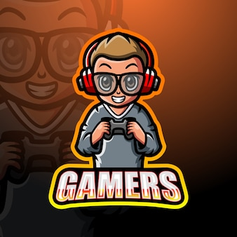 Gamer jongen mascotte esport illustratie