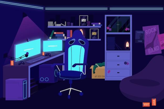 Gamer kamer illustratie
