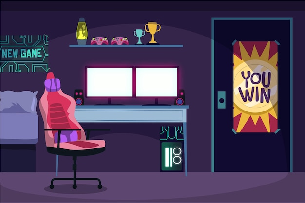 Gamer kamer in cartoon-stijl