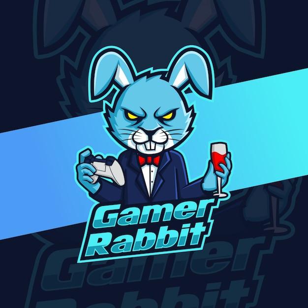 Gamer konijn mascotte esport logo ontwerp