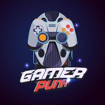 Gamer-logo. robotkop met gamercontroller