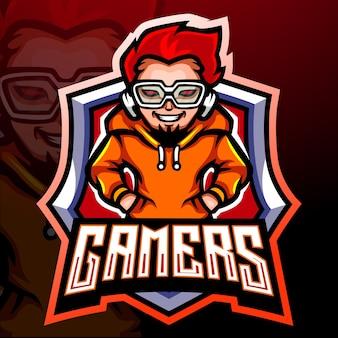 Gamer mascotte. esport logo ontwerp