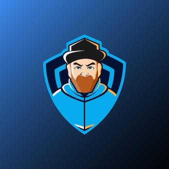 Gamer mascotte illustratie van esport logo