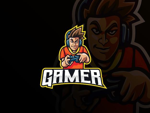 Gamer mascotte sport logo-ontwerp