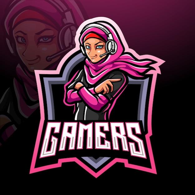 Gamer meisje esport logo mascotte ontwerp