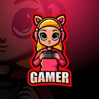 Gamer meisje mascotte esport illustratie
