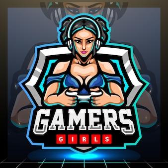 Gamer meisjes mascotte esport logo ontwerp