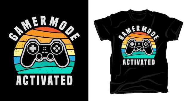 Gamer-modus geactiveerde typografie met t-shirtontwerp van de controller