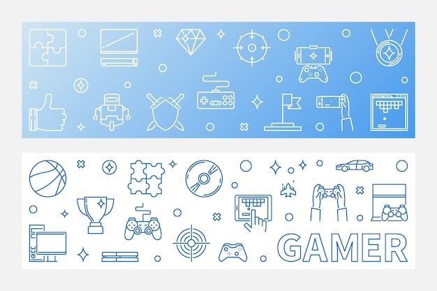 Gamer overzicht horizontale banner set