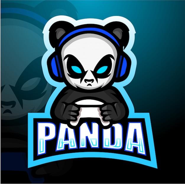 Gamer panda esport mascotte illustratie