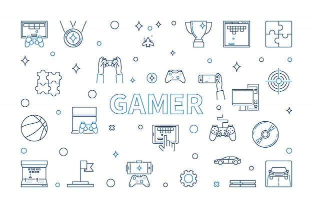 Gamer-pictogrammenset in dunne lijnstijl
